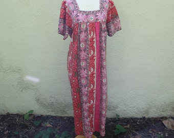 Vintage 90's Pink Cotton Caftan Maxi Dress - L