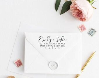 Custom Return Address Stamp, Self Ink Return Address Stamp, Personalized Address Stamp, Calligraphy Address Stamp Return Address Stamp No62