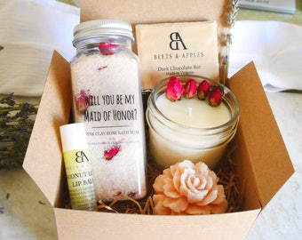 Will you be my maid of honor gift box Maid of Honor Spa Gift Basket maid of honor proposal spa gift set maid of honor gifts idea spa gift