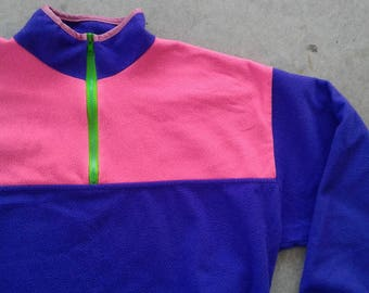 Killer Vintage 90's Pink/Purple/Green Polar Fleece Pullover Zip Up Sweater Made in Canada large