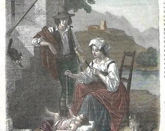 The child, antique print, 1872
