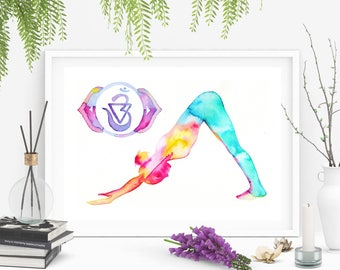 "Yoga Art Gift ""Trust your intuition"": Adho Mukha Svanasana and Anja the sixth chakra. Watercolor original artwork. Size 8x11.5 inches"