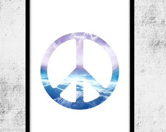 Peace Sign, Harmony Symbol, Modern Art Print, Minimalist Art, Ocean Fantasy, Peace Wall Decor