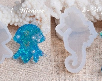 Silicone - jellyfish - seahorse - mold for resin, liquid polymer clay, cold porcelain clay.