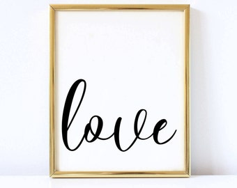 Love print, Instant download, Home Decor, Love decor, Love printable