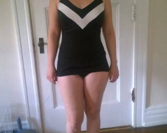 70s black and white swimsuit
