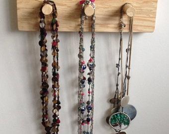 Jewelry organizer, necklace organizer, wooden hanging rack, peg rack, coat rack, handmade, Scottish,  sycamore, wood gift, unique (item 164)