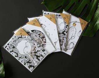 Buy 4 get 1 FREE! - Greeting Card Set - Blank Card - Magical - Fairy Tale - Nursery - Design