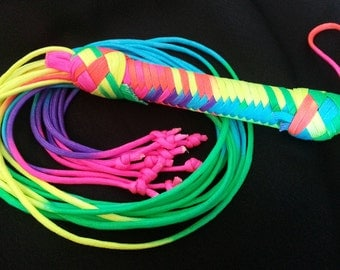 Multi colours long falls paracord flogger with knots at the end - bdsm - domination submission play - raibow flogger - gay pride