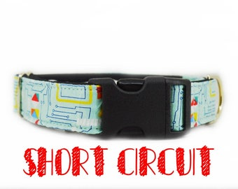 """Buckle dog collar: blue Circuit board, geeky computer print; black satin lined; available in 1"""",1.5"""",2"""" widths, adjustable lengths"""