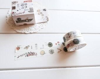 Winter Nature Washi Tape, Acorn Fall Autumn Nuts Washi Tape Set (NT-202)