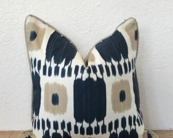 Blue Pillow, Schumacher Fabrics, Kandira, Ikat Print Pillow, Decorative Pillow, Taupe Pillow, Graphic Pillow, Throw Pillow, Sofa Pillow