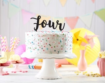 Birthday Party Cake Topper, Kids party cake topper, Birthday cake Topper age, 4th birthday cake topper, party decoration, topper