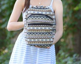 Shoulder backpack, mini tribal backpack, sling backpack, traveler bag, cute backpack, women backpack, summer school bag