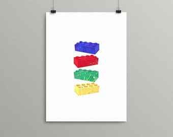 Lego Art, Lego Prints, Lego Decor, Custom Lego Wall Art, Lego Birthday