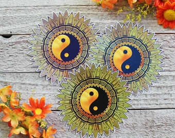 Sunflower Yin Yang Waterproof Sticker