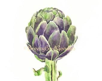 Artichoke Print, Watercolour Artichoke, Vegetable Print, Kitchen Print, Watercolor Vegetable, Restaurant Decor, Watercolor Food
