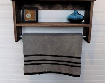 Classic Design Bathroom Shelf With Towel Bar Espresso Rustic Rack Display