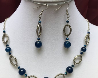 Navy Blue Beaded Necklace and Earring Set