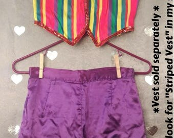 Vintage Purple Satin Shorts with Blue Sequin Trim for Jester/Circus Costume Festival/Rave Halloween Dance Performance Juggler Hooper Fairy