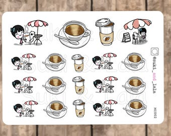 Coffee Planner Stickers, Hot Coffee Planner Stickers, Coffee Shop Planner stickers, Cafe Planner Stickers, Latte Planner Stickers (MI002)