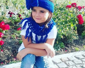 Royal blue headband, Royal blue scarf, Royal blue headband bow, Headband and scarf set, Scarf set, Headband set, Girl bows headbands, Tube