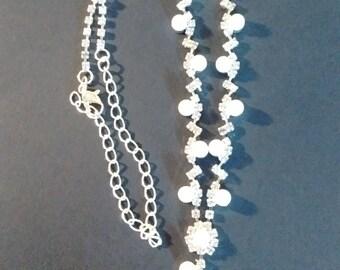 Pearl and Rhinestone Delicate Necklace-
