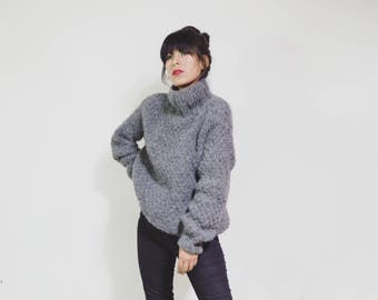 Gray sweater hand knitted with alpaca wool | Sustainable oversized gray sweater hand knitted alpaca wool | Sweater Alpaca Natural Fiber
