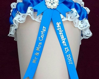 Something Monaco Blue Personalised Wedding Garter with Lucky Sixpence