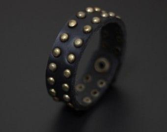 Artisan Handmade Accessory | Slim Black Vegan Friendly Leather Studded Snapper Cuff Bracelet