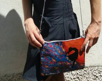 Painter's canvas clutch shoulder bag painted with acrylics and watercolor paint original work protected ballerina who dances