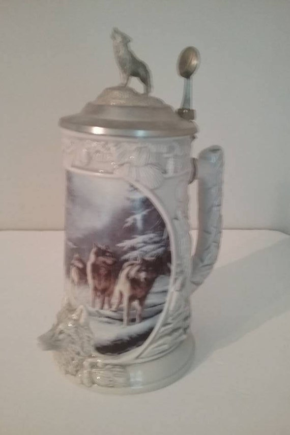 Series Lidded Stein, Search For Survival 6th in Wolf Pack Series, Pewter Lid with Miniature Pewter Sculpture, Certificate of Authenticity