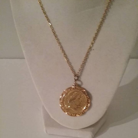 "Vintage Gold Tone Napoleon Emperor Coin Pendant Necklace, Napoleon Coin Pendant, Napoleon Coin Costume Necklace on 18"" Golden Chain, #Unique"
