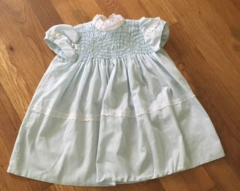 1960's Polly Flinders powder blue smocked dress - size 24 months / 2t