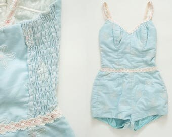 Vintage 1960's Jantzen Swim Suit - Daisy Print - Lace Trim - Pink & Baby Blue - One Piece Bathing Suit - Size Small / Medium - Ready to Wear