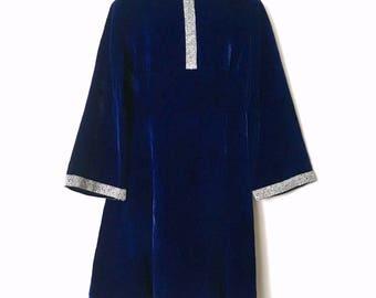 Vintage 1960s Royal Blue Velvet Dress