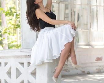 Chiffon Skirt, Summer skirt,  White skirt, White mini skirt, Evening Skirt, Plus size skirt, Light Skirt, chiffon skirt bridesmaid, Dancing