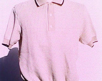 Waffle Knit Polo Top. 1970s.