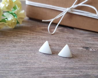 Triangle stud earrings white, Minimalist white earrings triangle, Simple triangle earrings, Geometric earrings hypoallergenic, Matte white