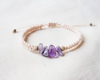 Natural Purple Fluorite Chips Woven Bracelet, Knotted Friendship Healing Bracelet