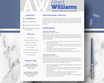 Professional Resume Template; Modern Resume, CV templates for Word & Pages; Instant Download Resume, CV design; 2,  3 page (US Letter + A4)