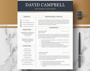 Resume Template for Word and Pages | Modern & Professional Resume, CV; Resume + Cover Letter + References | Downloadable resume | Curriculum