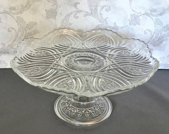 Pedestal Cake Stand - Vintage Pressed Glass Cake Stand