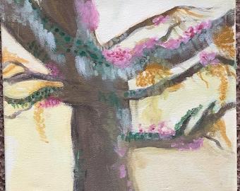 Fantasy Tree Original Acrylic Painting on Canvas, 8x10 art