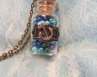 Ocean in a glass bottle necklace