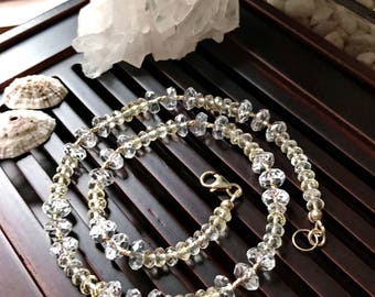 Citrine/Rock Crystal Clear Quartz/14K Gold Filled Elements Necklace. Healing Natural Gemstone Necklace.