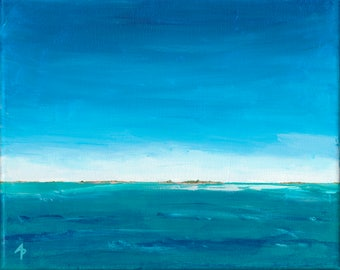 DISTANT LANDS #2 –OOAK Acrylic on Canvas Seascape Painting by Annie Palone
