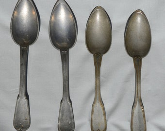 Pewter Spoons, Four Antique Spoons