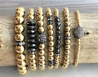 Gunmetal & Gold Metal Bead Ball Bracelet, 3mm, 4mm, 5mm, 6mm or 8mm Beads, Gold Stretch Stack Bracelets, Women or Men, Metal Bead Bracelets