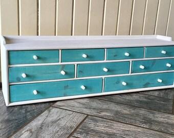 Apothecary chest, wooden chest, Aqua, White, modern vintage, handmade, jewelry box, storage box, trinket box, wedding gift,